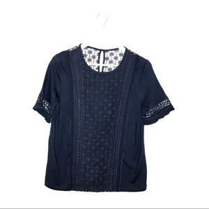 NWT Anthropologie Navy Blue Lace Short Sleeve